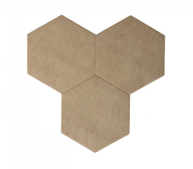 Hexagoane Autoadezive TEXTIL Light Brown